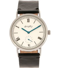 simplify quartz the 5100 white dial, genuine black leather watch 40mm