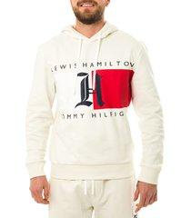 tommy hilfiger felpa uomo tommy jeans lh fleece logo hoodie mw0mw15355.ybi