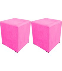 kit 02 puff decorativo dado quadrado suede rosa barbie - d'rossi