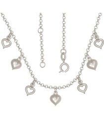 gargantilha prata mil com corações mini e vazados com alongador 5cm prata