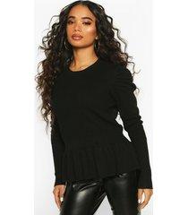 petite extreme volume sleeve peplum sweater, black
