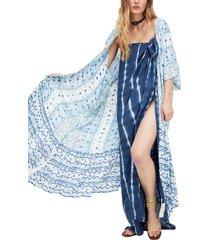 women's free people wallflower ruffle overlay, size one size - blue