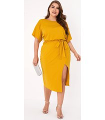 yoins plus talla amarillo cinturón diseño mangas cortas vestido