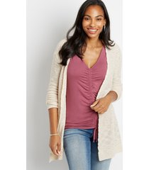 maurices womens solid lace up back open front cardigan beige
