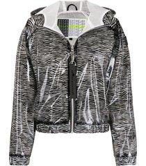 moose knuckles transparent zebra print jacket - black