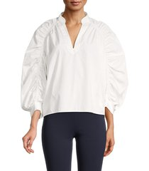 frame women's cotton balloon-sleeve top - white - size xl