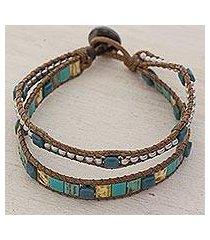 beaded wristband bracelet, 'teal beach' (guatemala)