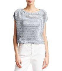 crochet short-sleeve sweater