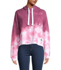 ck jeans women's tie-dyed cotton-blend hoodie - bonsai combo - size s