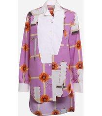 loewe asymmetrical cotton shirt with print