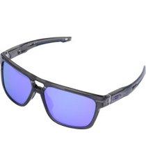 óculos de sol oakley crossrange patch iridium - unissex - cinza esc/roxo