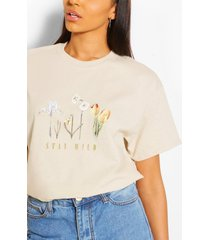 stay wild flower print slogan t- shirt, stone