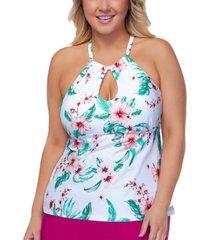 raisins curve trendy plus size high-neck underwire tankini top women's swimsuit