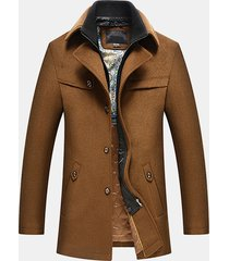 cappotto di lana da uomo a maniche lunghe da uomo con collo a molla per la stagione invernale