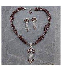 garnet jewelry set, 'daisy passion' (india)