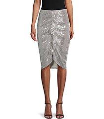 sequin ruffle-front skirt