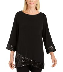 jm collection sequined-hem crossover-hem top, created for macy's