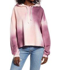 women's treasure & bond tie dye hooded sweatshirt, size small - pink