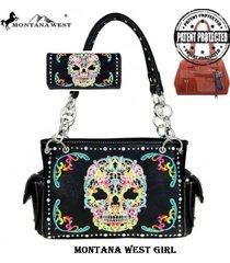 2 colors sugar skull montana west concealed carry satchel bag wallet set
