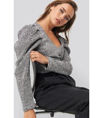 trendyol sequin detailed blouse - silver