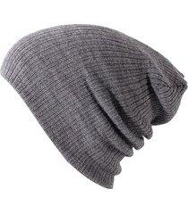 gorro unisex punto suave algodon invierno liso 028 gris