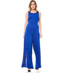 macacão longo pantalona ralm fenda nas pernas azul