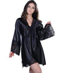 robe curto  yasmin lingerie perola preto - preto - feminino - dafiti