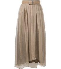 brunello cucinelli raffia belt pleated skirt - brown