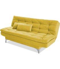 sofá cama 3 lugares pratic império estofados amarelo