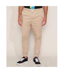 calça de sarja masculina jogger skinny com cordão kaki