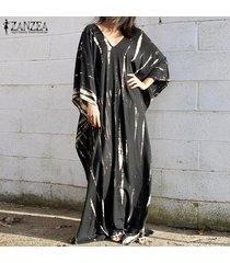 zanzea mujeres con cuello en v vestido de manga 3/4 maxi playa vestido irregular informal floral del verano -negro
