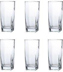 conjunto de copos bali transparente 320ml - com 6 peças - casa linda