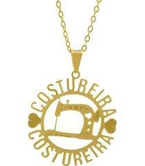 gargantilha horus import costureira banhada ouro 18k feminina
