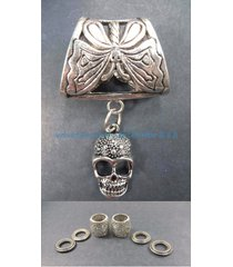us seller-scarf jewelry necklace skull pendant slider scarf ring
