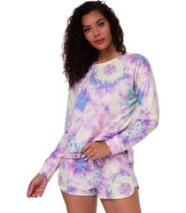 onzie women's high low after yoga sweatshirt - neon tie dye small/medium spandex