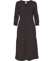 puff sleeve button-front midi dress knälång klänning svart gap