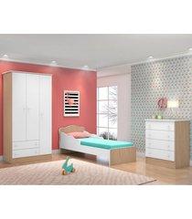 jogo de quarto infantil doce sonho 3 portas com mini cama carvalho/branco - qmovi
