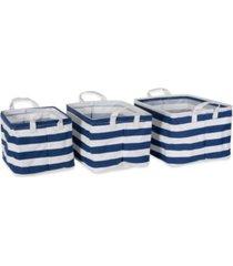 design imports polyethylene coated cotton polyester laundry bin stripe rectangle small set 3