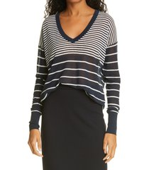 judith & charles poppy stripe sweater, size small in navy/off-white at nordstrom