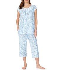 women's eileen west lace trim rose print capri pajamas, size small - white