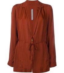 raquel allegra belted longline jacket - brown