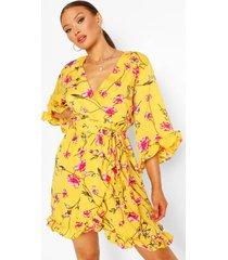bloemenprint skater jurk, geel