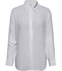 drapey shirt with mesh tape overhemd met lange mouwen wit calvin klein jeans