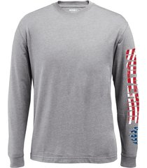 wolverine men's vertical long sleeve graphic tee ash, size l
