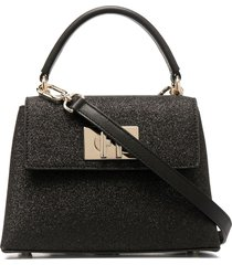 furla textured leather tote bag - black