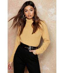 roll neck crop sweater, camel