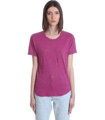 isabel marant étoile koldi t-shirt in rose-pink linen