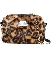 maison margiela glam shoulder bag in synthetic fur