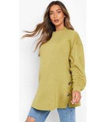 zwangerschap borstvoeding sweater met knopen, khaki
