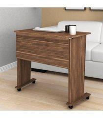 mesa escrivaninha dobrável com rodízio nogal me4117 - tecno mobili
